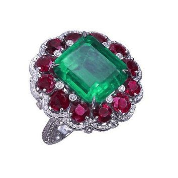 12.9K Emerald Cut Green Emerald & Red Ruby Halo Ring