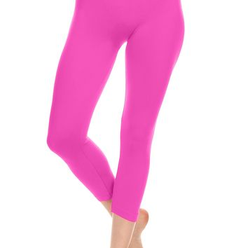 Simlu High Waisted Leggings Seamless Capri Leggings Yoga Leggings for Juniors
