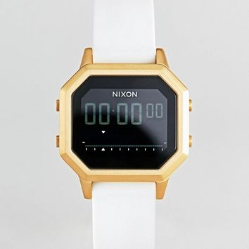 Nixon A1211 Siren Digital Silicone Watch In White at asos.com