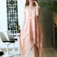 Kawaii Lolita Round Collar Irregularity Hem Chiffon Dress - Black, Blue, Pink, Rose or Apricot - S M L from Tobi's Finds