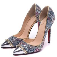 Christian Louboutin Fashion Edgy Rivets Sequin Pointed  Hollow Heels Shoes