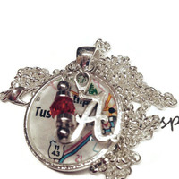 University of Alamama, Tuscaloosa necklace, map of Tuscaloosa under glass pendant with an A  and a crimson bead charm, Roll Tide
