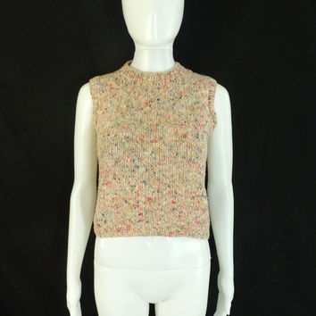 55%off Mar16-20 70s crop top size small, hand knit top, cropped top, acrylic, colorful, sleeveless, handmade, 1970s top, shirt blouse