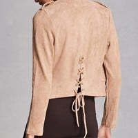 Faux Suede Lace-Up Back Jacket