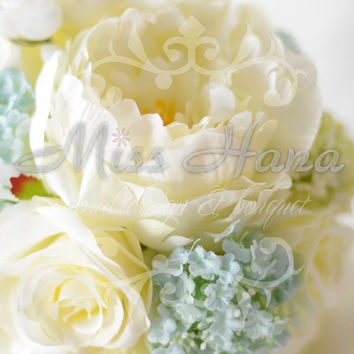 Light blue and yellow hydrangea and peony Silk Bride Bouquet Wrapped In Satin Ribbon Silk Arrangement Rustic Chic Romantic Elegant