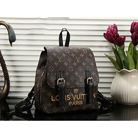 LV Trending Stylish School Bag Shoulder Bag Leather Embroidery Letter Backpack Black I-a-BBPFCJ