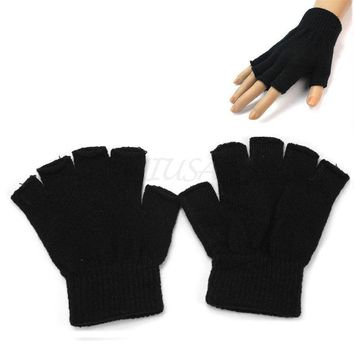 Men's Cold Winter Gift Outdoor Hand Warm Knit Fingerless Gloves Short