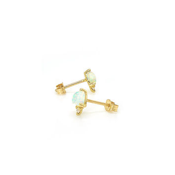 Opal & Diamond Modern Minimalist 14k Gold Stud Earrings