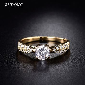 BUDONG Fashion Brand Austria Crystal Statement Ring for Women 2017 Gold-Color Crystal Cubic Zircon Engagement Rings Jewelry R140