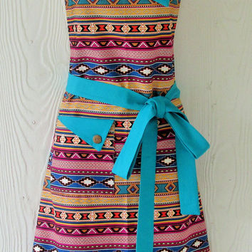 Aztec Print Apron - Tribal, Ethnic, Colorful, Geometric - Teal, Orange, Retro Style, Full Apron, KitschNStyle