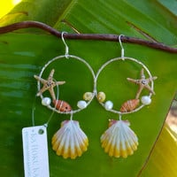 Sunrise Shell Starfish Wire Wrapped Dangle Earrings