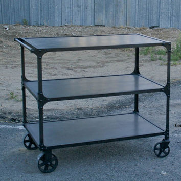 Industrial Cart. Bar cart. Restaurant bus cart. Modern. Handmade and customizable. Reclaimed wood available.