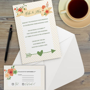 Instant Download - Floral Cream Polka Dots Mod Flower Boho Bohemian Hipster Modern Wedding Bridal Shower Party Invitation RSVP Template