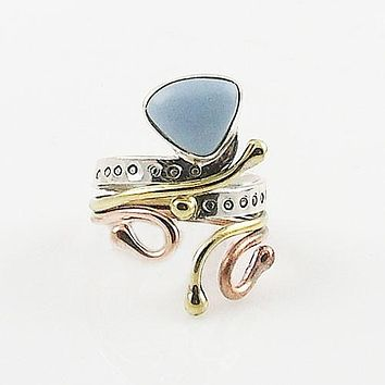 Owyhee Opal Fancy Cut Three Tone Sterling Silver Adjustable Ring