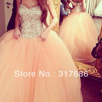 Elegant Gorgeous Sparkle Fully Rhinestone Bodice Peach Puffy Tulle Prom Dress Debutante Balls Gowns Engagement Dress 2016