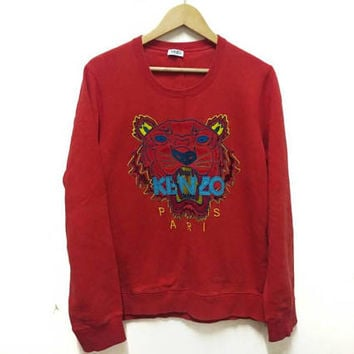 Kenzo Paris Sweatshirt Tigers Embroidery spellout big logo