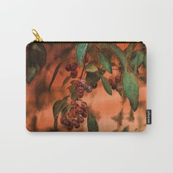 Red Berry Tree at Sunset Carry-All Pouch by Theresa Campbell D'August Art