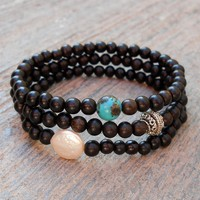 Strength, Ebony Set with Freshwater Pearl and Turquoise Guru Beads