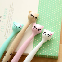 1 Pcs Cute Kawaii Korean Japanese Cat Cartoon 0.5mm Black Ink Gel Pens Writing Office School Kids Girls Supplies Stationery