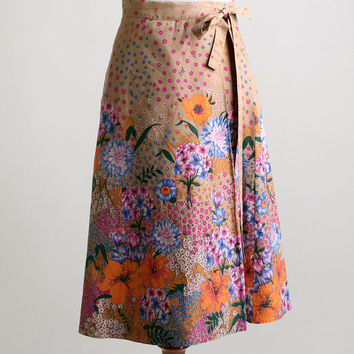 Vintage Floral Wrap Skirt - Vibrant Colorful Flower Garden Skirt - Small XS