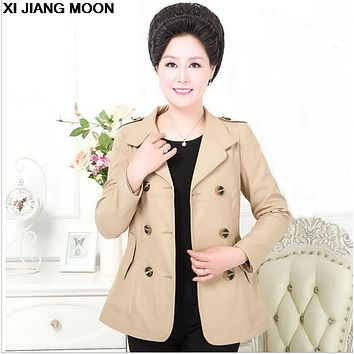 2017 Spring Autumn New Middle-Aged Women Blazer Fashion Suit Double-Breasted Fashion Suit Blazer W638