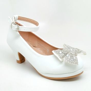 Girl's White Color Heels with Rhinestone Bow Detail