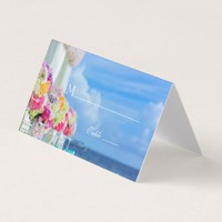 Elegant Floral Ocean Beach Summer Table Place Card
