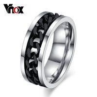 Vnox Spinner Black Chain Ring for Men Punk Titanium Steel Metal Finger Jewelry