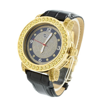 Canary Lab Diamond Watch Mens Khronos Diamond Dial Black Leather Band
