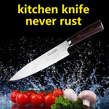 High Quality 8 inch Chef Knife Damascus Steel Blade Color Wood Handle Damascus Knife 71 Layers Kitchen Knives free shipping