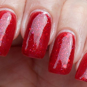 SALE All My Almandine  Red jelly glitter nail polish