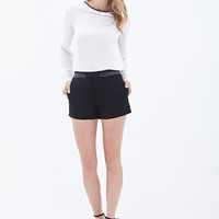 Faux Leather-Trimmed Shorts