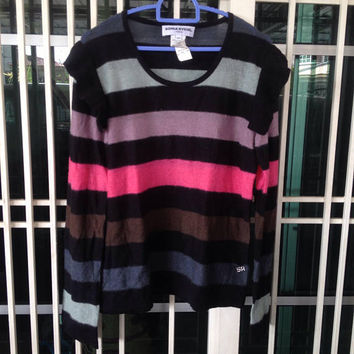 Vintage 80s Sonia Rykiel Striped Women Tops Knitwear Long Sleeve