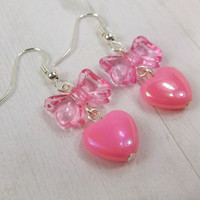 Heart Bow Earrings Kawaii Jewelry Dangle Pastel Pink Earrings Sweet Lolita Fairy Kei Princess Earrings Retro Jewelry