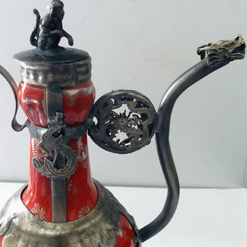 Asian Hand Painted Ornamental Armored Porcelain Chinese Teapot Tibetan Miao Silver Monkey Kirin DRAGONS