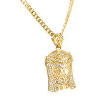 14K Yellow Gold Finish Cubic Zirconia Jesus Pendant + Franco Chain