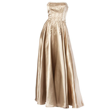 Vintage 1940's Heavy Satin Custom Strapless Gown/ Dress with Cord Detailing