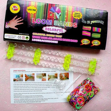 Loom Bands Kit w/ Rainbow Colorful Rubber Bands (600pcs / Latex Free), Loom Board, Loom Tool (Hook, S Clips) DIY Bracelets, Charms TL019