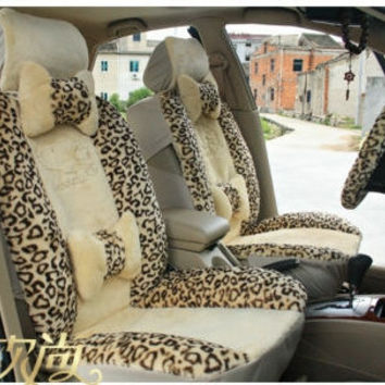 Cartoon Automobile Car Seat Cushion Seat Cover General Size for Sedan Leopard Print (11 Units in One Set)