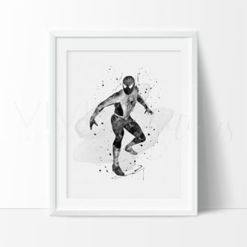 Spiderman, Black + White Watercolor Art Print