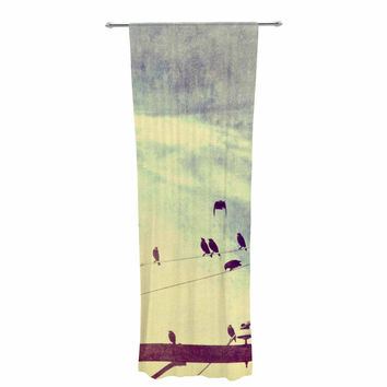 "Sylvia Coomes ""Vintage Birds On A Wire 1"" Brown Vintage Decorative Sheer Curtain"