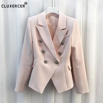 HIGH QUALITY Blazer Women New Fashion 2017 Designer Blazer Women's Long Sleeve Gold Buttons Blazer Jacket jaqueta feminina