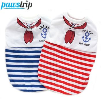 Pet Dog Vests Navy Stripe Cotton Puppy Brand T Shirts Dog Summer Clothes For Teddy Chihuahua XS-XL
