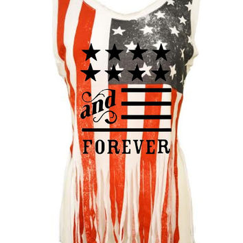 American and forever Women's Shredded Us Flag July 4th Tanktop