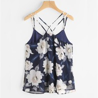 Chiffon Tank Tops Sexy Womens Sleeveless Halter neck Tank Crop Tops Flower Printing bustier Vest Blouses T-Shirt Camis