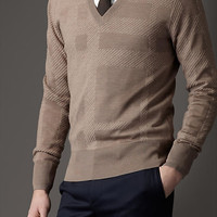 Check Silk Cashmere Sweater
