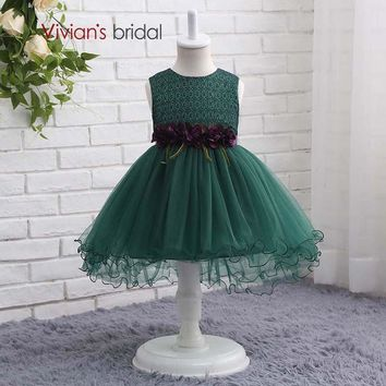 Bridal Lace Tulle Ball Gown Flower Girl Dresses Birthday Gown for 7 Years Old Summer Party Dresses