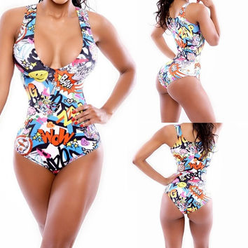 Print New Fashion Triangle Beach Monokini Bandage Swimsuit Clubwear bathing suits 2015 Beachwear Bodycon Bikini One Piece Lady = 1956692228