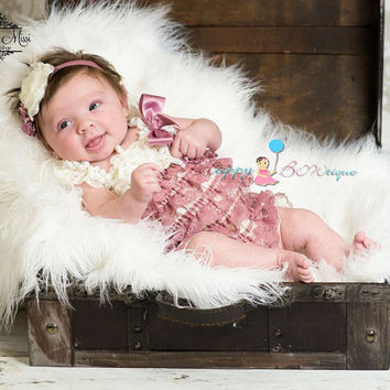 Baby Girl coming home outfit,Dusty Ivory Rose Lace Romper, Baby dusty Rose Romper, flower girl outfit,1st Birthday outfit,newborn baby girl