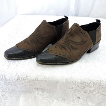 Donald J Pliner western ankle bootie size 6.5 designer hand crafted in Spain leather / suede brown cowboy ankle boots SunnyBohoVintage